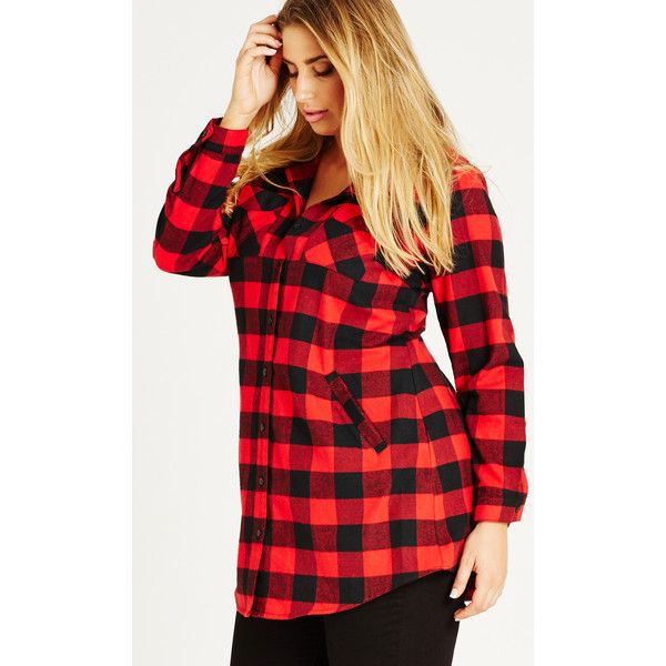 City Chic Longline Boyfriend Shirt ($79) ❤ liked on Polyvore featuring tops, red shirt, button down shirt, long sleeve cotton shirts, red button up shirt and folding shirts