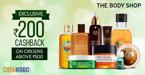 Say yes to savings with #Bodyshop & avail Rs 200 #Cashback on all orders above Rs 500 via https://cashkaro.com/stores/body-shop  #BodyshopOffers