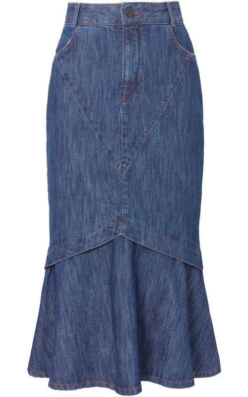 Saia jeans mídi rabo de peixe Maria Filó na @oqvestir