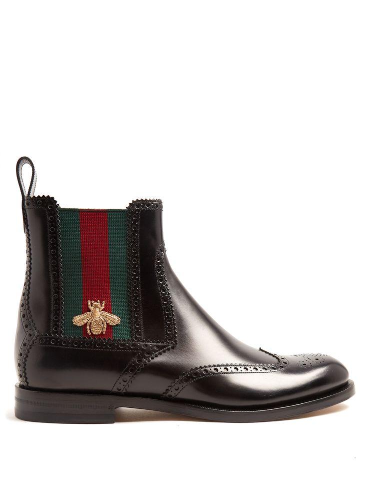 Web-striped leather chelsea boots | Gucci | MATCHESFASHION.COM UK