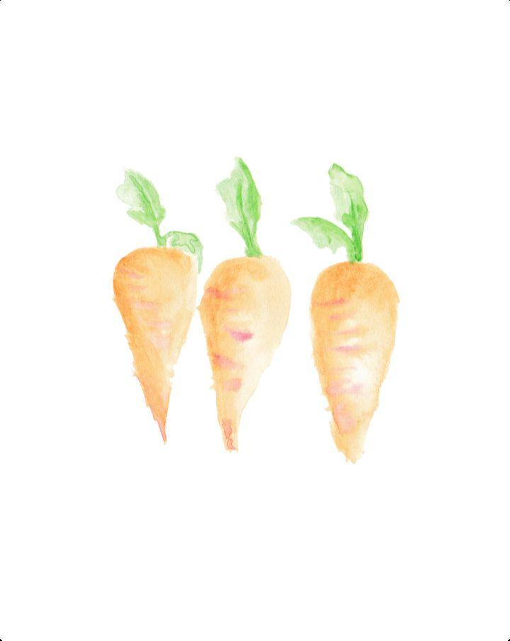 Carrots, Watercolor Painting, Vegetable Art Print, Gardening Art, Gardener Print, Vegetable Art, Food Art, 8X10 printable, Kitchen print by OrangePeelPaperie on Etsy
