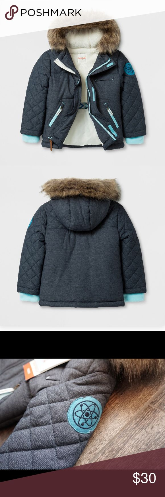 🆕LISTING Cat & Jack Heavyweight Parka Parka with Sherpa lining to keep your little one warm. Water resistant.. This navy hooded jacket features removable faux fur around the hood. It is attached by buttons. Front zippered pockets. Front full length zipper with velcro fasteners. Machine washable. 12 months. Bundle and save! Jackets & Coats Puffers