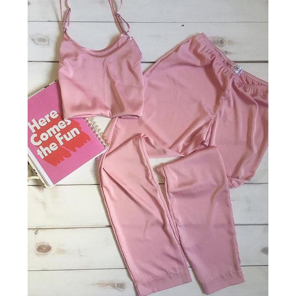 Women's silk pajama set ($57) ❤ liked on Polyvore featuring intimates, sleepwear, pajamas, silk sleep wear, silk sleepwear, silk pyjamas, silk pajamas and silk pajama set