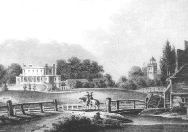 Paradise Bridge over the New River with Clissold House in the distance.