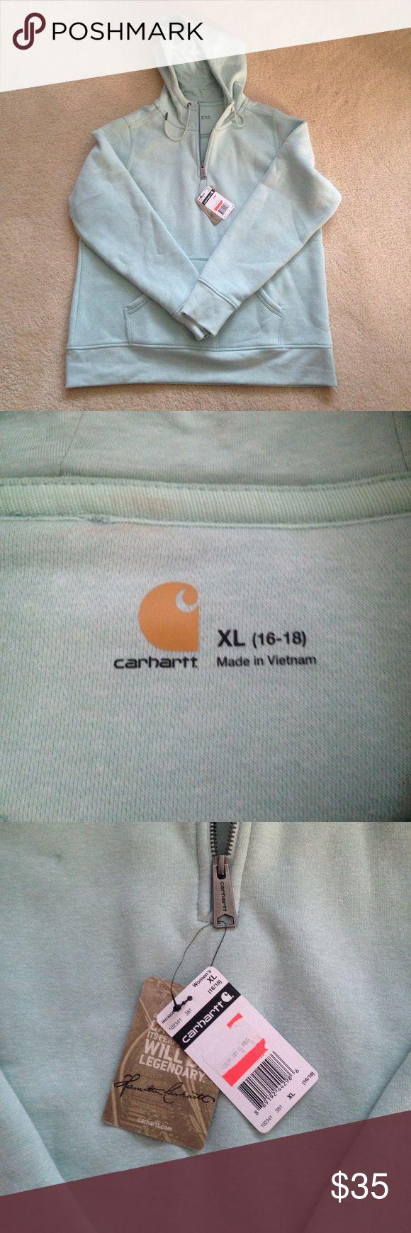 Carhartt 1/4 zip hooded sweatshirt Sea foam green women's Carhartt 1/4 zip hooded pullover sweatshirt. NWT. Perfect condition, never worn. I've lost weight and need a small size. Carhartt Tops Sweatshirts & Hoodies