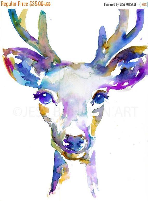 EN venta la Buck acuarela pintura impresión ciervo pintura