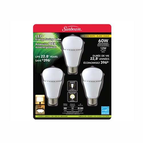 Sunbeam LED A19 12W 800 Lumens Dimmable Warm White Bulb 3 Pack