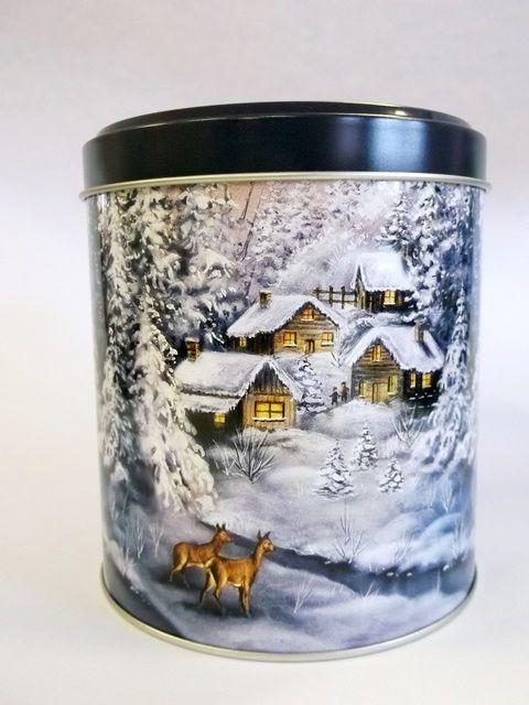 Vánoce | Plechové dózy na cukroví | Plechová dóza vánoční kulatá modrá - malá | OK-PAPÍRNICTVÍ.CZ | Etikety, papír, kotoučky