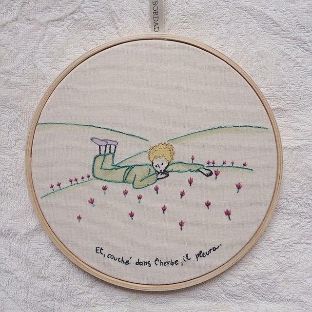 """Para os amantes de """"o pequeno príncipe"""" {aquarela e bordado} #clubedobordado…"""