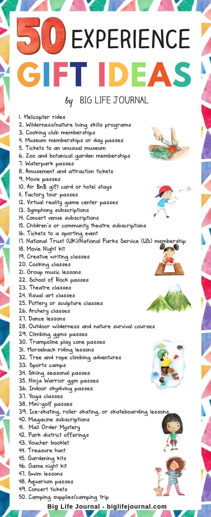 4ea34d0a2da3 50 Experience Gift Ideas for Families   Children