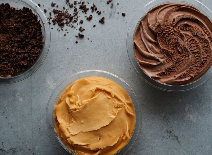 The three components inside the Chocolate Chocolate Sea Buckthorn combines rich chocolate and honey ice cream with a sea buckthorn sorbet and crushed dark chocolate topping.