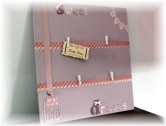 Cadre toile porte photo/pele-mele chambre bébé / fille - rose / violet