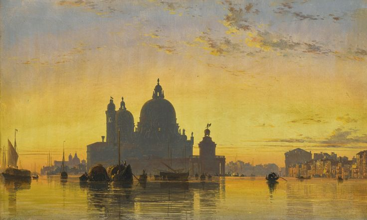 Edward William Cooke 1811 - 1880  VENICE, SUNSET BEHIND THE CHURCH OF SANTA MARIA DELLA SALUTE  oil on paper laid on canvas 11 by 17 3/4 in. 28 by 45 cm