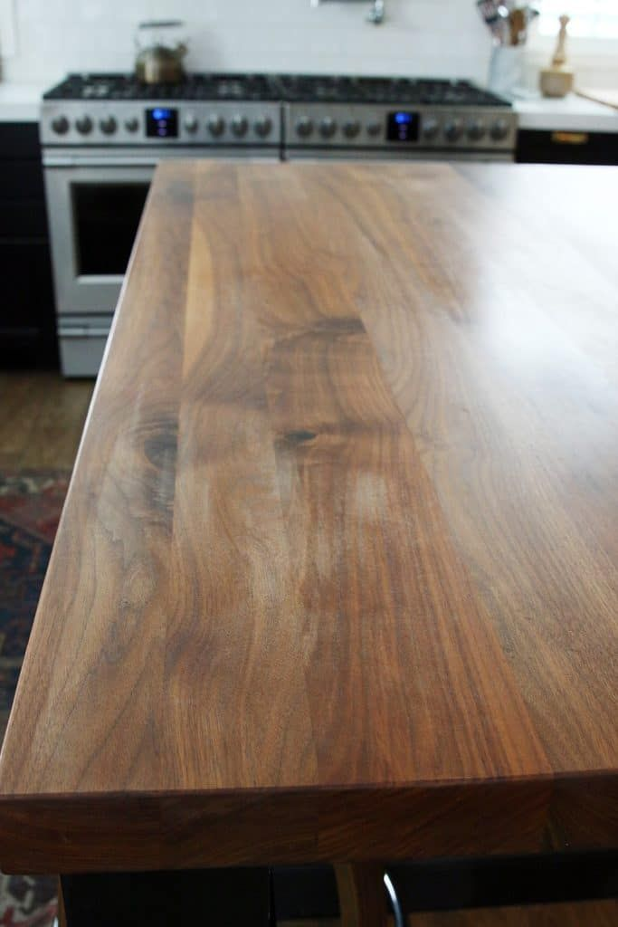 How We Refinished Our Butcher Block Countertop Cheap Kitchen Countertops Butcher Block Countertops Butcher Block Countertops Kitchen