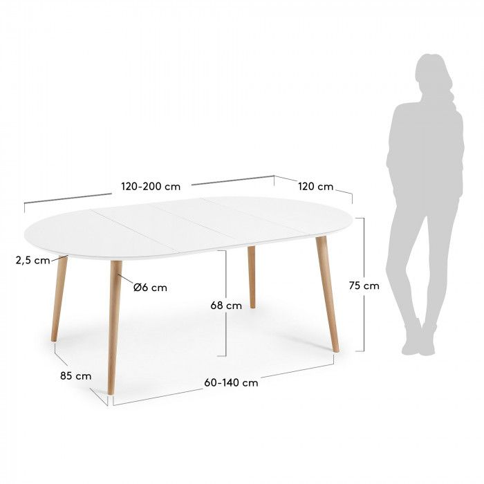 Table Ronde Oqui Extensible 120 200 X 120 Cm Blanc Kave Home
