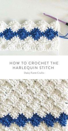 Como Crochetar o Ponto Arlequim - Daisy Farm Crafts #crochet