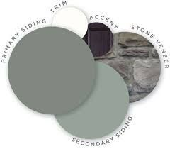 Mastic color palette, midnight mystery, quest vinyl siding, cedar discovery vinyl shingle siding, louvered shutters, designer accents, trim, ridgestone stone veneer, coordinating colors