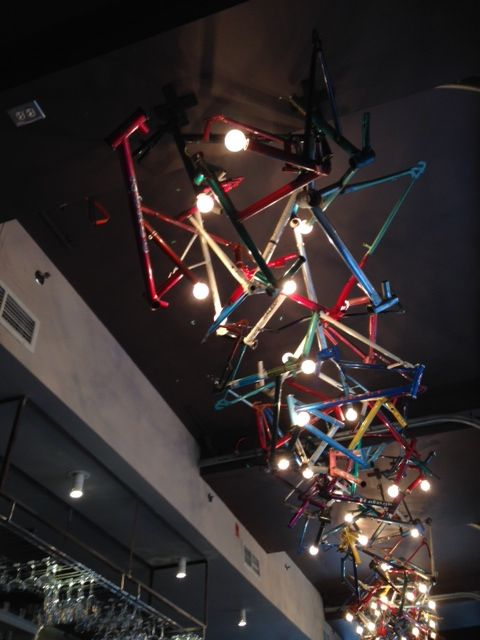 light hanging made from bicycles