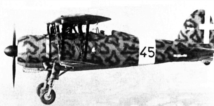 Italian Fiat CR42 - briefly and unsuccessfully employed in the Battle of Britain, it was in widespread use in the Mediterranean, where the Italians were squaring up to the heavily outnumbered British in late 1940.  It was comparable in performance to the Gloster Gladiator.