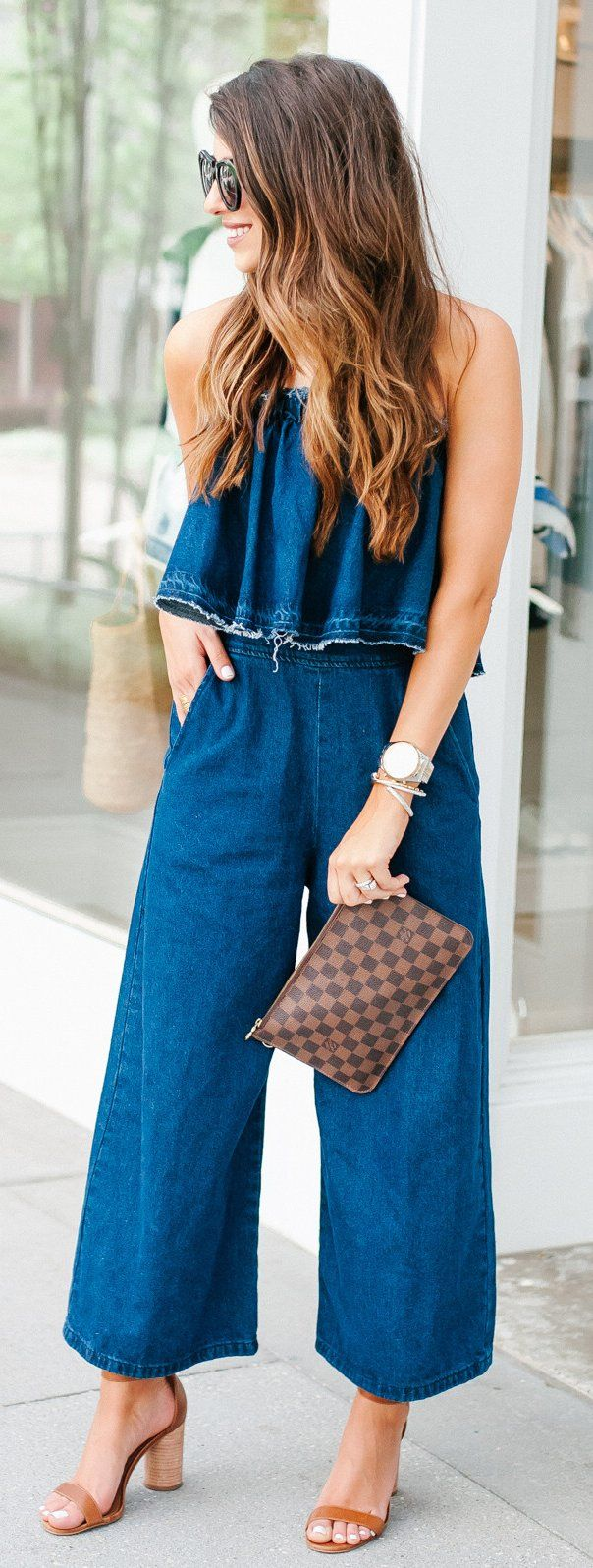 #summer #outfits Major Trends Happening Over On The Blog With This Denim On Denim, Culoutte, Jumper That Stole My (()). // Denim Jumper + Brown Sandals