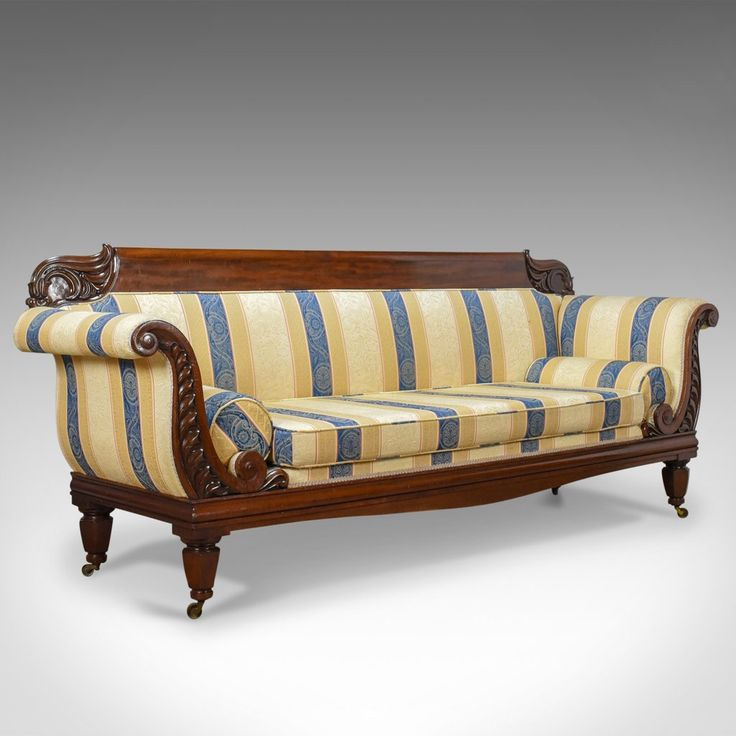 Large Antique Scroll End Settee, Regency Mahogany Sofa Daybed Circa 1820