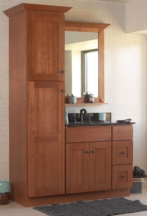 Like this idea for storage in a small space. -- Sturbridge Vanities (Shaker) - Discount RTA Bathroom Cabinets - Kitchen Cabinets