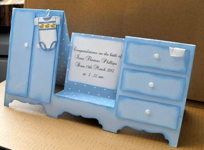 Kimber Kreations: Baby Card Instructions. - Step card - wardrobe and dresser - pictorial tutorial & instructions