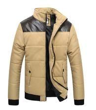 Men's PU Patchwork cotton Jacket winter casual outwear S-VarietyStore