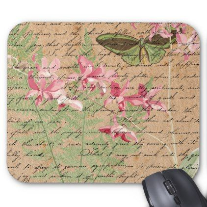 #Vintage Orchid Fern and Butterfly Collage Mousepad - #office #gifts #giftideas #business