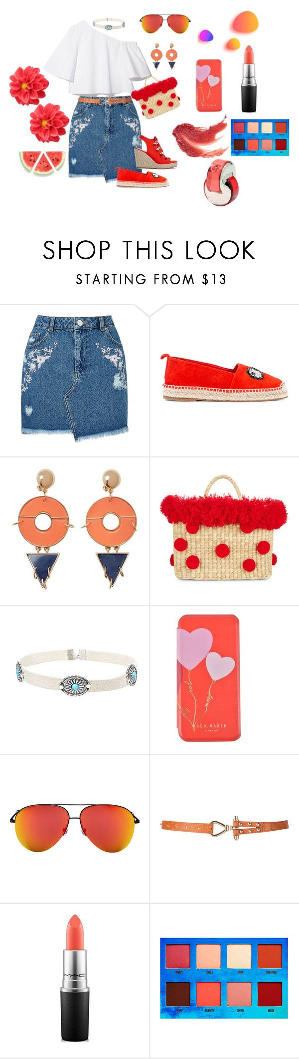 """Look cute"" by megeller ❤ liked on Polyvore featuring Miss Selfridge, Anya Hindmarch, Violeta by Mango, Nannacay, Ted Baker, Victoria Beckham, MAC Cosmetics, Lime Crime and Bulgari"