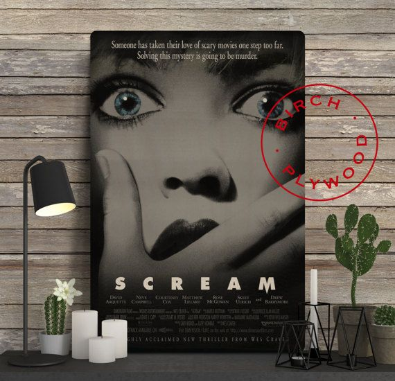 SCREAM Movie Poster on Wood, Neve Campbell, Courteney Cox, Drew Barrymore, Movie Poster, Unique Gift, Birthday Gift, Print on Wood