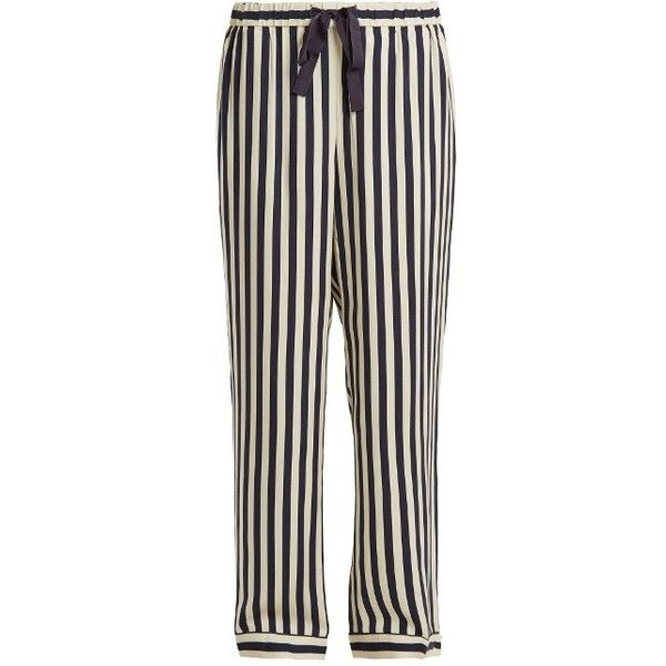 Morgan Lane Ryan striped pyjama trousers ($298) ❤ liked on Polyvore featuring intimates, sleepwear, pajamas, navy stripe, striped pajamas, striped pyjamas and striped pjs
