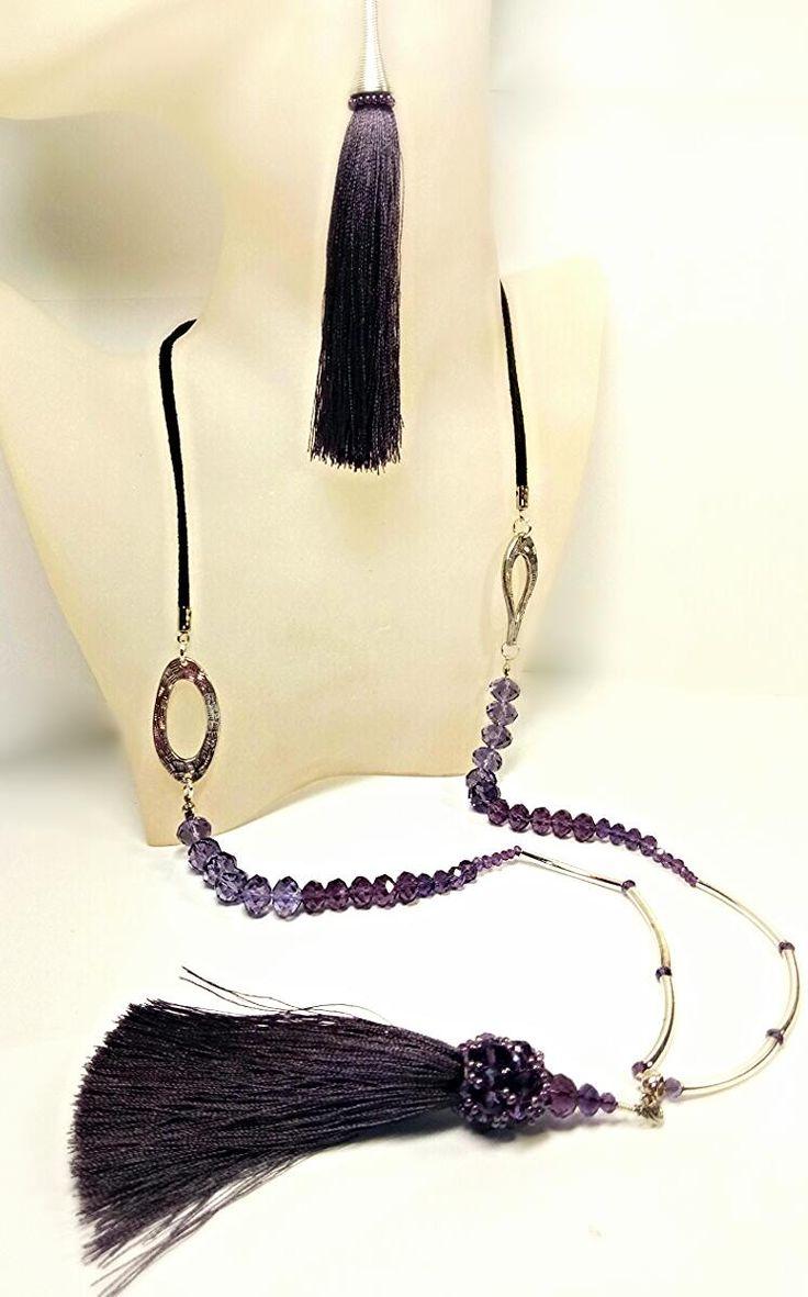 Ожерелье с подвеской и серьги, ручная работа.