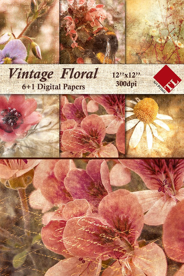 Vintage Floral Paper Pack Rustic Paper For Scrapbooking And