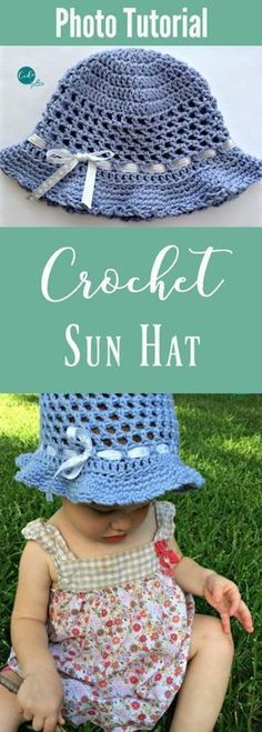 Crochet your toddler a light airy sun hat | crochet hat | free hat pattern | crochet sun hat | learn to crochet | photo tutorial crochet hat | how to hat | girl's hat | toddler hat | preschooler hat | baby hat | diy hat | crochet for beginners | easy crochet hat