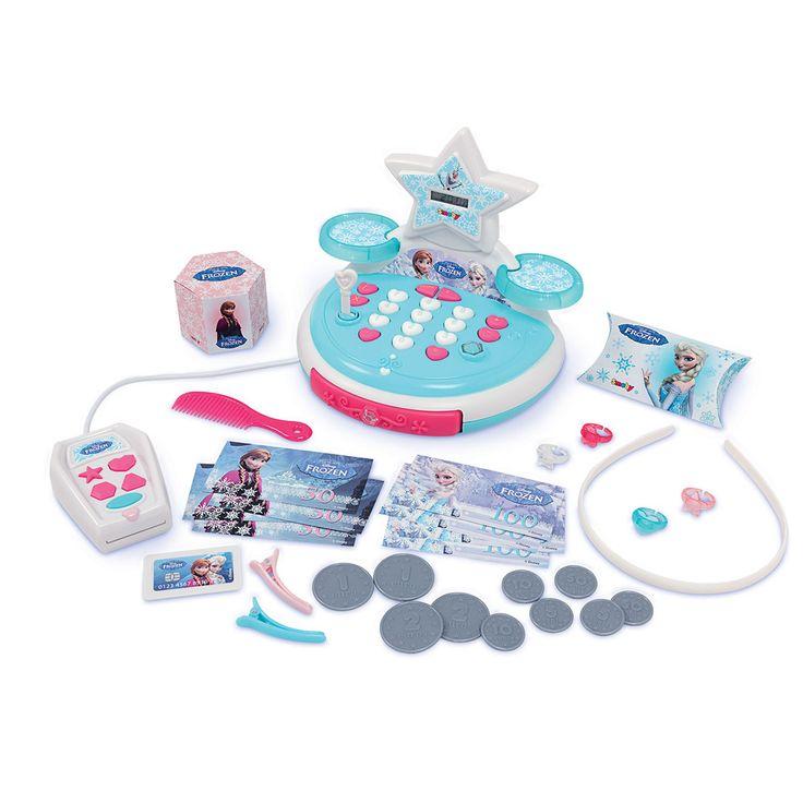 Elektronische Smoby Disney Frozen kassa met pinapparaat. Inclusief verschillende accessoires zoals speelgeld, pinpas, haarband, 4 ringen, kammetje en twee haarknipjes. Afmeting: verpakking 26,5 x 21 x 16 cmBenodigde batterijen:3x Batterij R6 AA alkaline(1999914)  - Smoby Disney Frozen Kassa