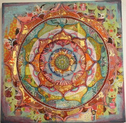 Try thsi with reverse applique starting with many layers. Then cut away as you create the design.                 Mandala by Kari Atol
