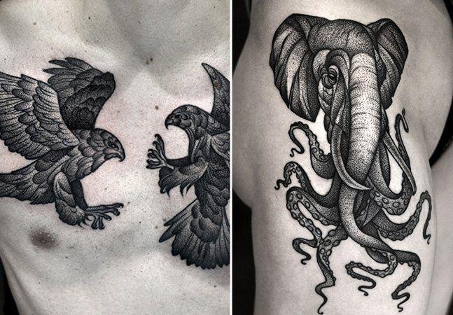 Se as tatuagens coloridas encantam, o chamado blackwork, que consiste apenas no uso de tinta preta, tem conquistado uma legião de amantes. E para este estilo, técnicas como o pontilhismo e o uso criativo de formas geométricas fazem toda a diferença. O polonês Kamil Czapiga que o diga. Embora se intitule iniciante, oartista iniciante tem se provado cada vez mais um dos mais renomados nas tattoos compostas por pequenos pontos e chama a atenção principalmente por suas artes envolvendo animais…