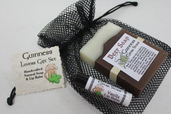 Guinness Gift Set  Beer Soap & Lip Balm  by AllThingsHerbal, $9.95