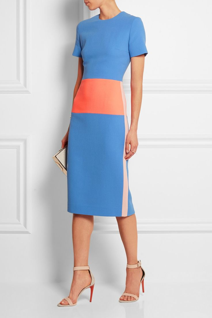 Roksanda | Color-block wool-crepe dress | NET-A-PORTER.COM