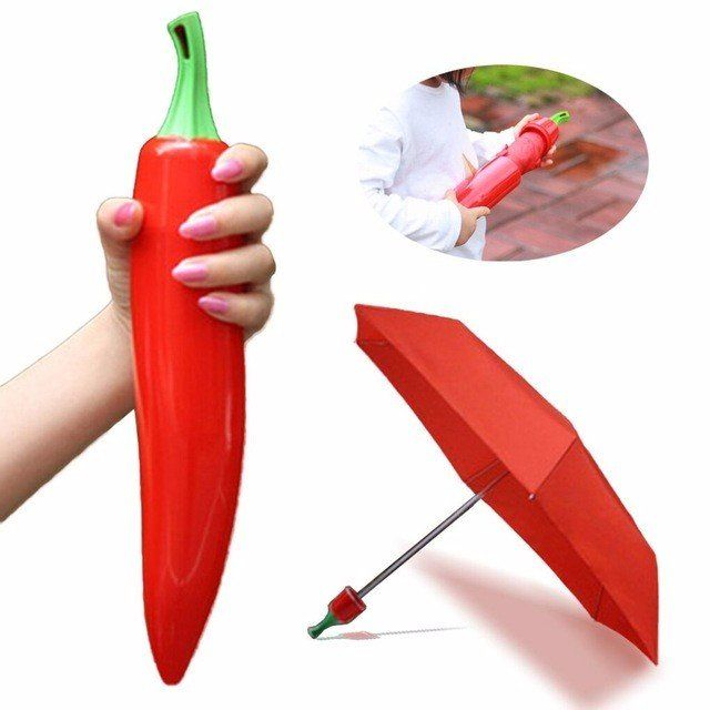 Hot Pepper Vegetable Kids Umbrella Novelty Cute Cheap Sun Umbrella Rainy Rain Gear