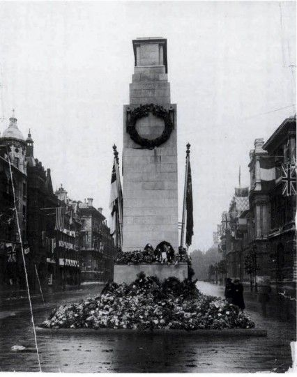 """""""The Cenotaph, originally built in 1919 for the first anniversary of the Armistice, was actually intended as a temporary monument....Sir Edwin Lutyens was asked to rebuild it in Portland stone for the following year. All religious imagery was avoided & it was simply inscribed with the words """"The Glorious Dead"""". It was once calculated that if the British dead from World War One had marched by the Cenotaph four abreast. it would have taken them three and a half days to march by..."""""""