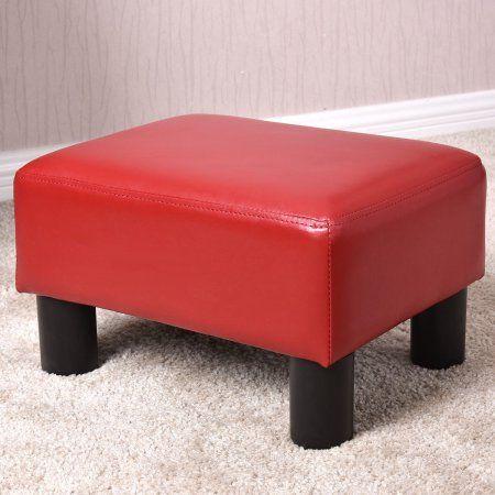 Goplus Small Ottoman Footrest PU Leather Footstool Rectangular Seat Stool Red