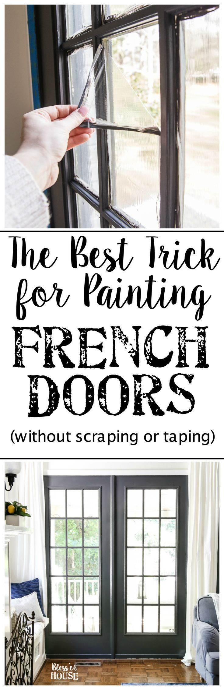 The Best Trick for Painting French Doors   blesserhouse-com - A quick tip for painting French doors without scraping, taping, or splotchy peeling paint.  This trick saves SO much time and looks amazing like a factory finish! #paintingtips #diytips #french