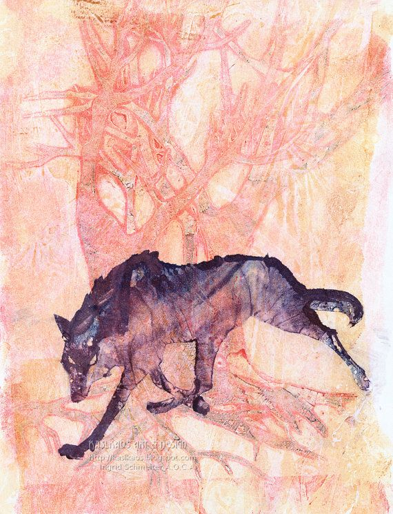 Wolf Art Print, Original Abstract Art Inspired by Nature, Hand-pressed Monoprint One of a Kind on Etsy, $29.50