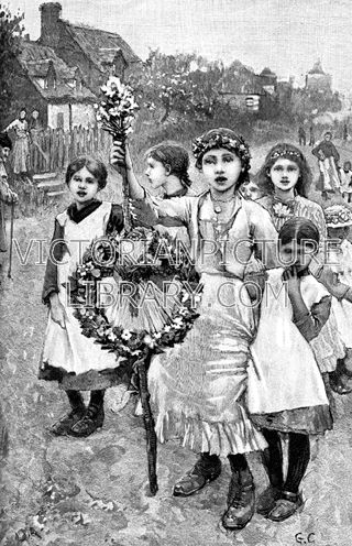 May Day Procession. Charming Victorian picture showing children in a May Day procession through a village. The girl in front carries a May garland fastened to a stick; she has flowers in her hair and wears a jacket, frilled skirt and boots The other girls wear dresses and pinafores. Download high quality jpeg for just £5. Perfect for framing, logos, letterheads, and greetings cards.