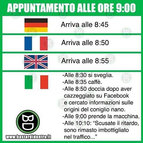 #appuntamento alle ora 9 Seguici su youtube/bastardidentro #bastardidentro #italiani #ritardo www.bastardidentro.it