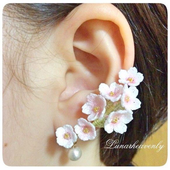 桜のイヤーカフ レース編み|イヤーカフ・イヤーフック|ハンドメイド通販・販売のCreema