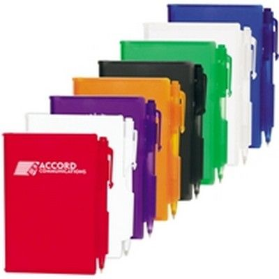 Plastic Pocket Custom Notebook w/Pen Min 250 - Promotional Giveaways - Custom Notepads - GO-27051s - Best Value Promotional items including Promotional Merchandise, Printed T shirts, Promotional Mugs, Promotional Clothing and Corporate Gifts from PROMOSXCHAGE - Melbourne, Sydney, Brisbane - Call 1800 PROMOS (776 667)