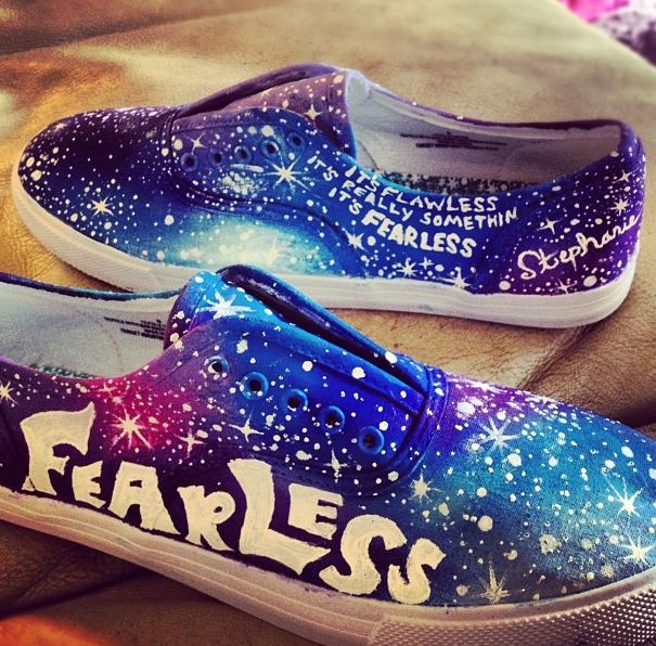 Hand painted galaxy shoes with Taylor swift lyrics